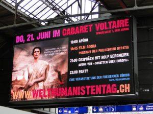 Anzeige im Zürich HB zum Welthumanistentag Zürich 2012
